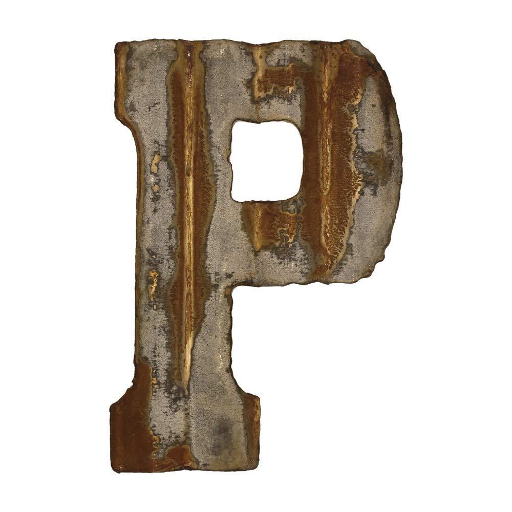 Custom Cut Decor 8'' Rusty Galvanized Corrugated Metal Letter -P