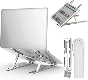 Laptop Stand Computer Holder Ergonomic Ventilated Desktop Elevator with 6 Level Adjustable Height and Foldable Design for Home Office