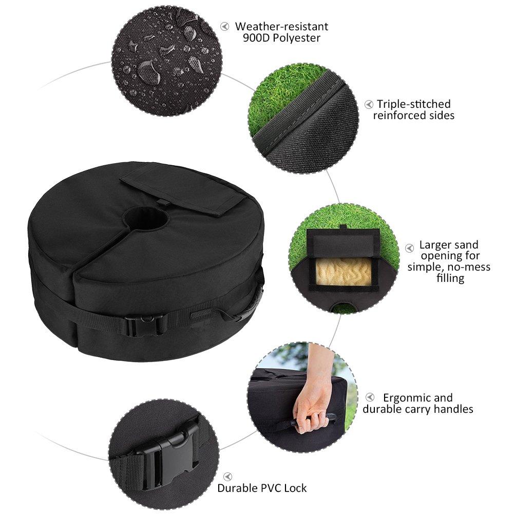 46 /× 46 /× 10 cm Outdoor Parasole Ombrello Base Borsa per il peso per sabbia con supporto ergonomico Aggiungi peso per tutti gli ombrelloni o le aste allaperto Staccabile Telo Oxford 900D