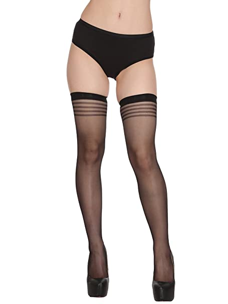 6c7fe0cff Clovia Women s Thigh-High Stockings With Striped Hems (ST0060P13 Black Free  Size)
