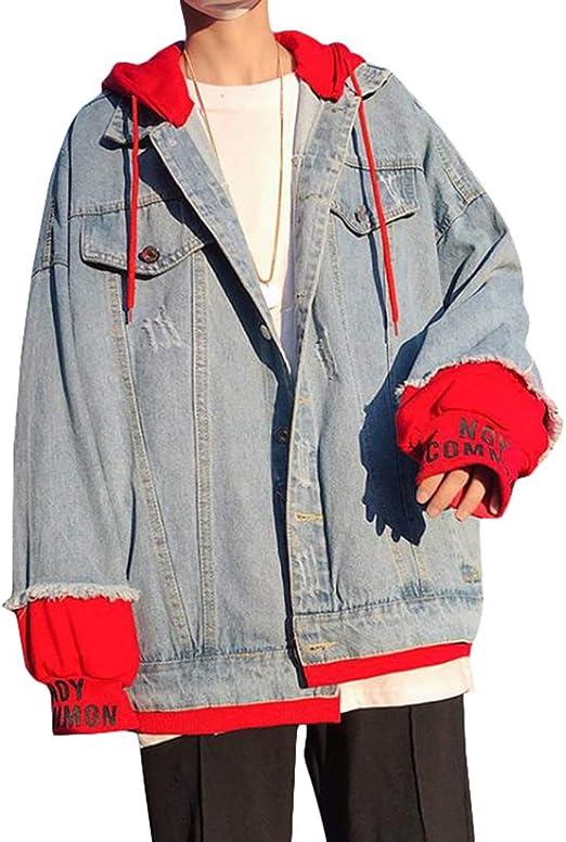 [YYQ-SHOP]デニムジャケット メンズ フード付き パーカー デニム 長袖 ゆったり ジャケット フェイクレイヤード Gジャン 重ね着風 ファッション アウター ストリート系 春 大きいサイズ