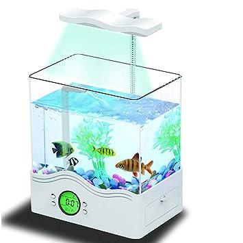 Mini Acuario Ornamental Tanque De Peces Ecológico Multifuncional USB ...