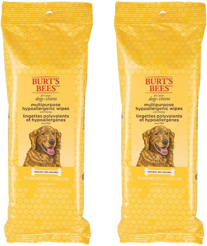 Burt's Bees For Dogs MultipurposeHypoallergenic Grooming Wipes | Honey Infused Puppy and Dog Wipes For Cleaning to Remove Dirt and Pet Odors, 50 Count