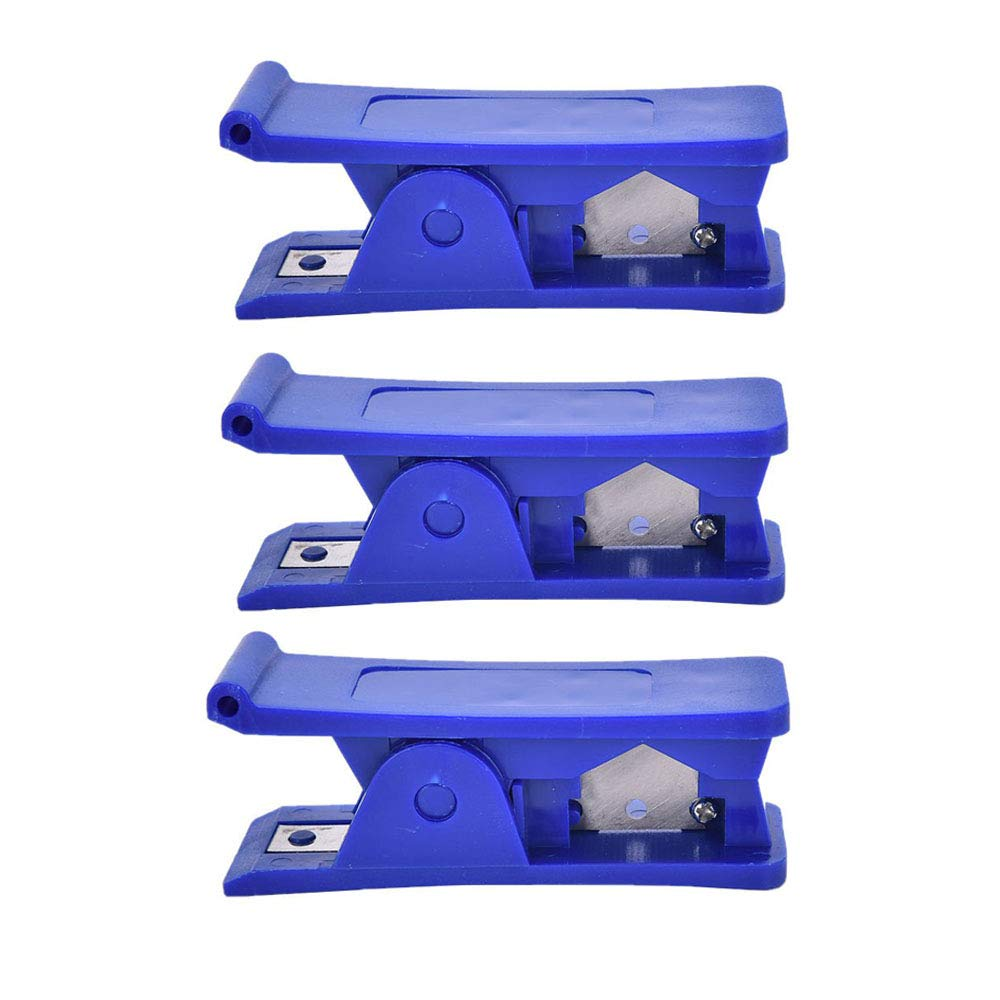 Cortador de tubo de 3 piezas, cizalla de tubo de plástico, goma suave, silicona, PVC, tubo, PU, nylon, tubo de plástico, cortador de tubo, herramienta de corte 7.8 * 2.4 * 3.5 cm (azul)