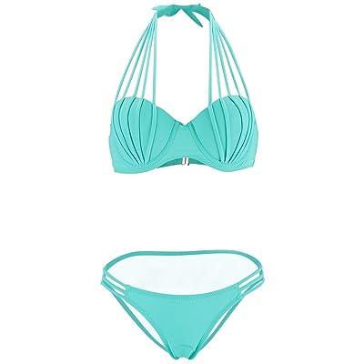 LOEL Women's Swimwear Push Up Bikini Bandeau Bathing Suits 2 Piece Swimsuits: Clothing