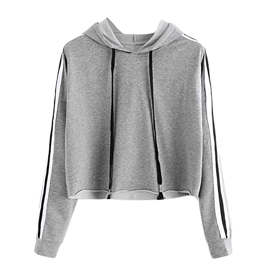 Paymenow Women Teen Girls Fashion Crop Sweatshirts Casual Long Sleeve  Striped Sports Pullover (