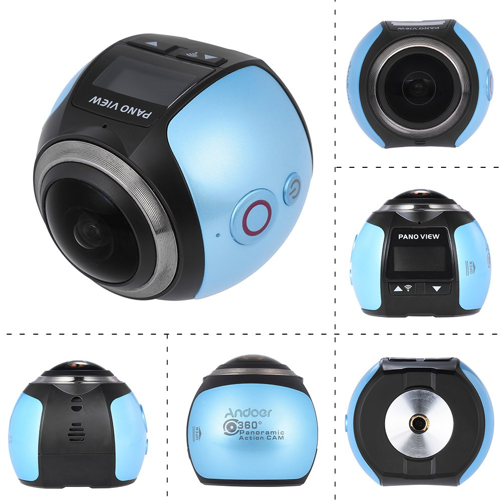 Amazon.com : Andoer 360 Degree Wifi 2448P 30FPS 16M Fisheye Film Source Panorama Camera for Virtual Glasses VR Action Sports Outdoor Activities Camera ...