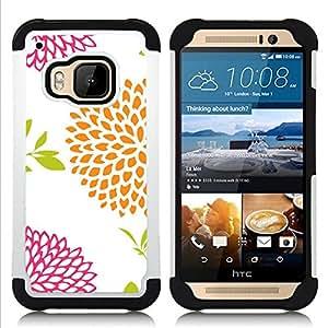 - petal minimalist art white drawing/ H??brido 3in1 Deluxe Impreso duro Soft Alto Impacto caja de la armadura Defender - SHIMIN CAO - For HTC ONE M9