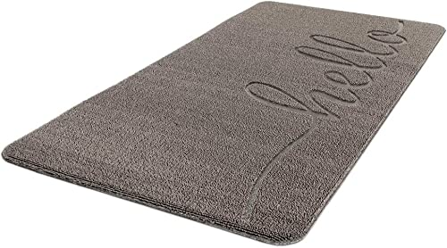 Polanya Loop Mat Non-Slip Rug Front Door Entrance Durable Doormats 39 x 20 Hello Gray