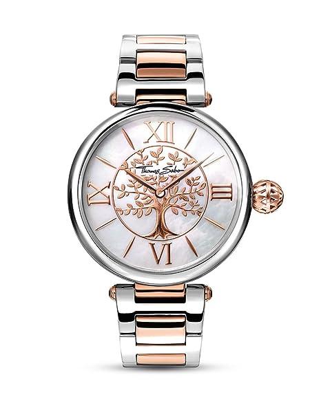 Thomas Sabo Reloj para mujer Karma Oro rosado y plata WA0315-272-213-38 mm: Amazon.es: Relojes