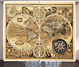Wanderlust Decor Curtains Old Map (1626) A New And Accvrat Map Of The World Historical Manuscript Living Room Bedroom Decor 2 Panel Set