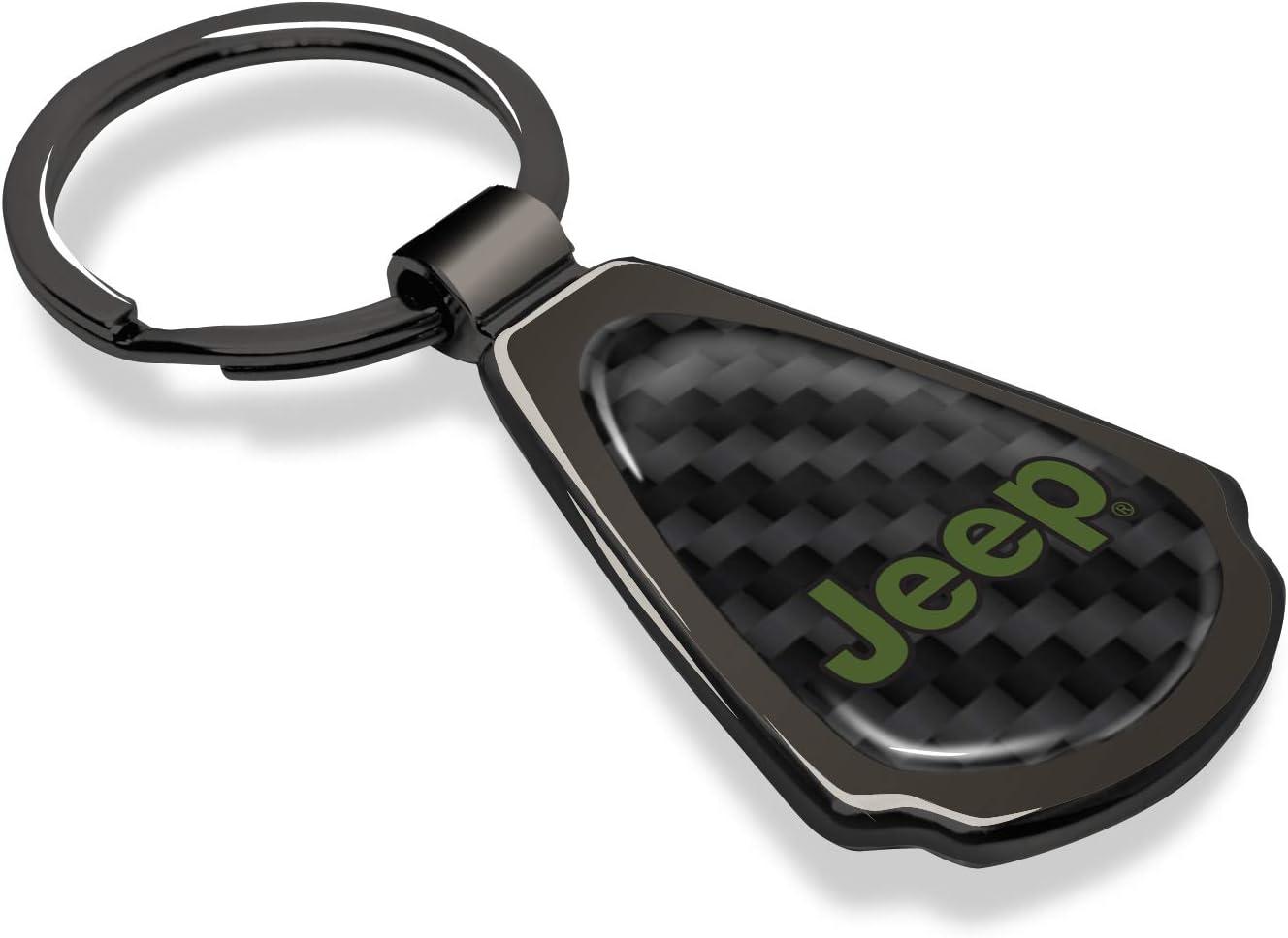 Jeep in Green Real Black Carbon Fiber Gunmetal Black Metal Teardrop Key Chain iPick Image for