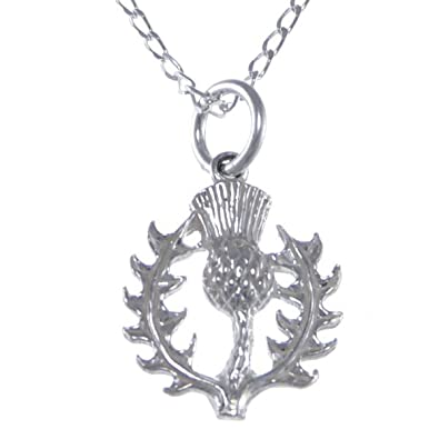 Sterling Silver Amethyst Thistle Pendant - Scottish Necklace with 18