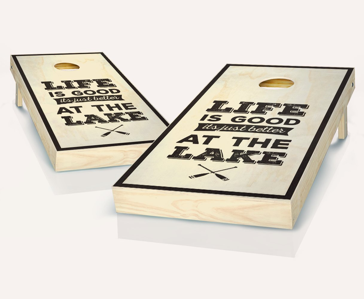 Tailgating Pros Life is Better at The Lake Ebony Stained Cornhole Boards with Set of 8 Cornhole Bags by Tailgating Pros