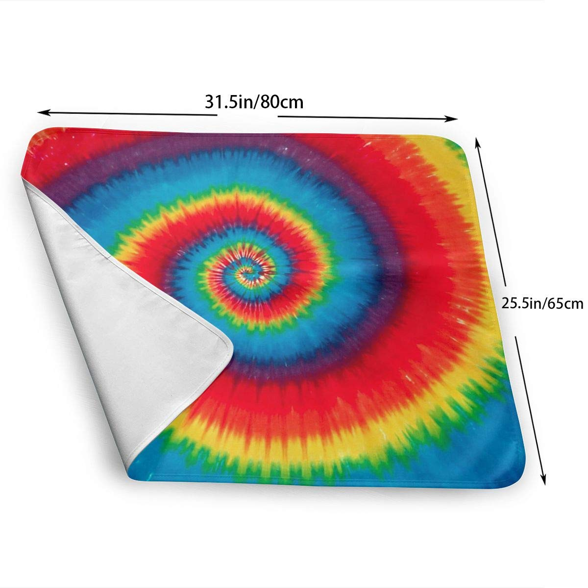 HOKICGR Tie Dye Pattern Print Reusable Changing Mat Portable Changing Travel Home Change Mat Organizer Bag Newborn Storage Bag