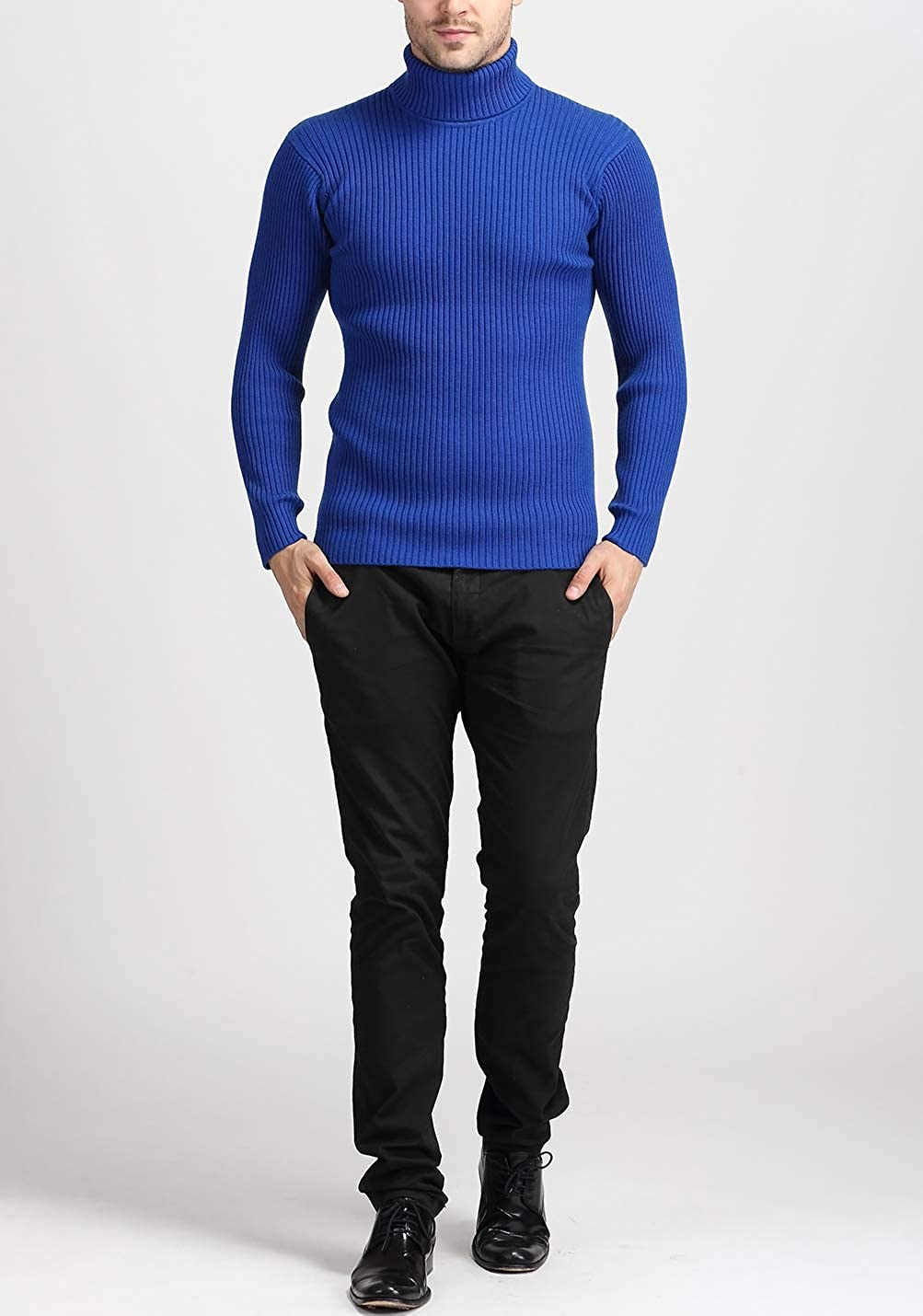 Gihuo Mens Slim Fit Ribbed Solid Color Turtleneck Knit Pullover Sweater