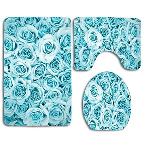 YGUII Blue Teal Rose Flowers Bathroom Rugs Set 3 Piece, Soft Non-Slip Bath Mat U-Shaped & Round Toilet Floor Rug Mats for Tub Shower Rugs