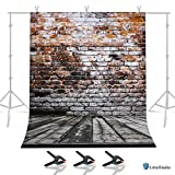 LimoStudio 6 x 10 ft. Brick Wooden Floor, Brown/Red Brick Wall Background Muslin with Supporting Spring Clamp, Photo Video Studio, AGG2562