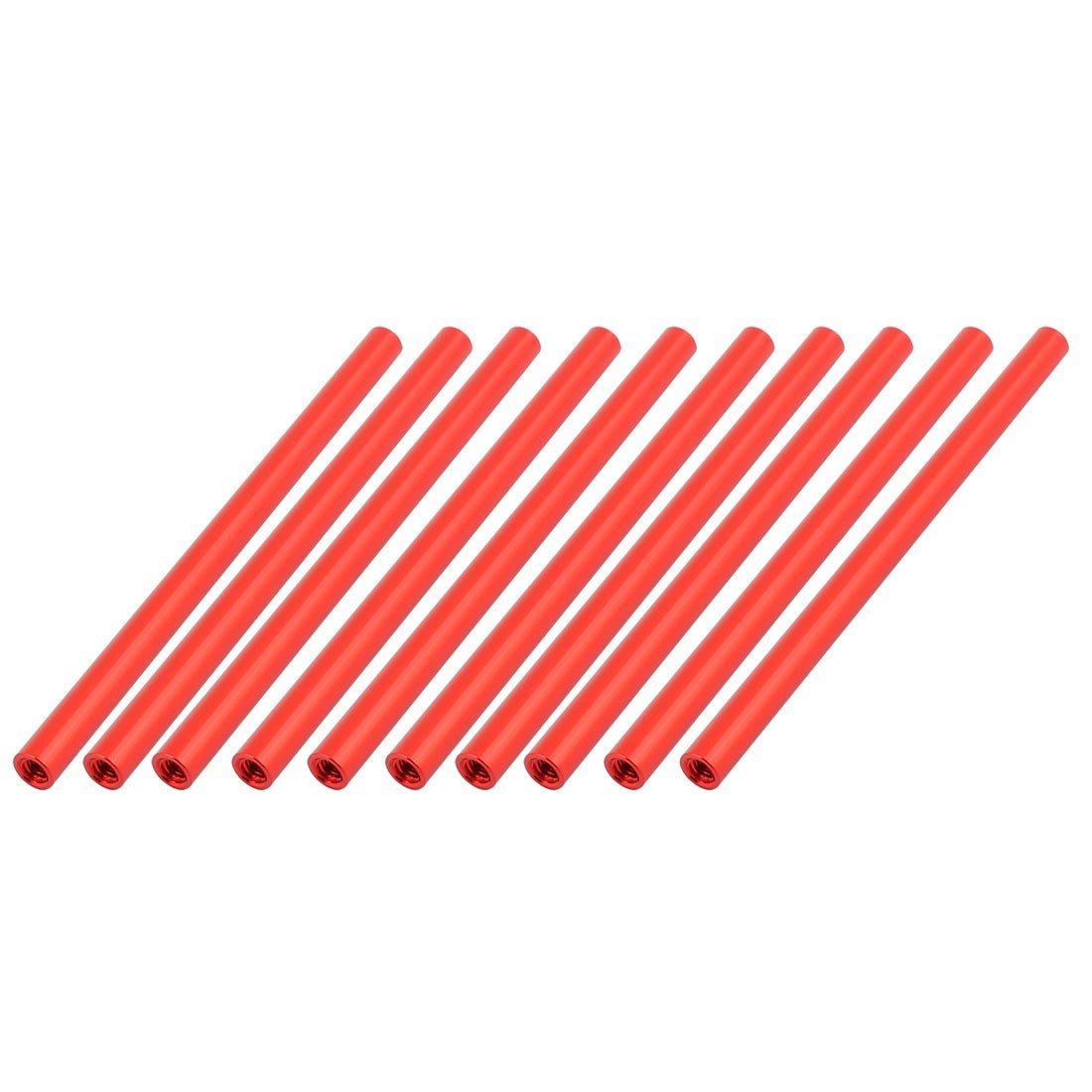 uxcell 10 Pcs M3 x 80mm Round Aluminum Column Alloy Standoff Spacer Stud Fastener for Quadcopter Red