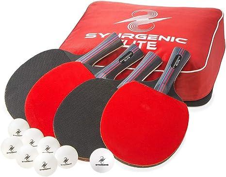 Amazon.com: Synrgenic juego de palas de tenis de mesa – 4 ...