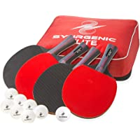 Synrgenic Table Tennis Paddle Set - 4 Professional Ping Pong Rackets, 8 Professional ITTF Game Balls, and Portable Cover Bag - Ergonomic Wooden Bats for Powerful Speed and Spin