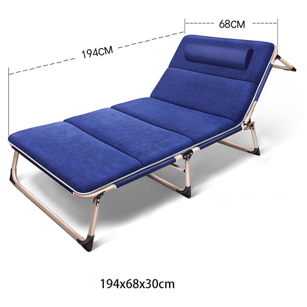 マットレスリクライニングゼログラビティを持つ芝生の椅子アウトドアビーチキャンプポータブルチェア釣り狩りシート、200キロ (色 : 青) B07D4GHL4X  青