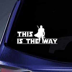 """Bargain Max Decals This is The Way Bounty Hunter Sticker Decal Notebook Car Laptop 5.5"""" (White)"""