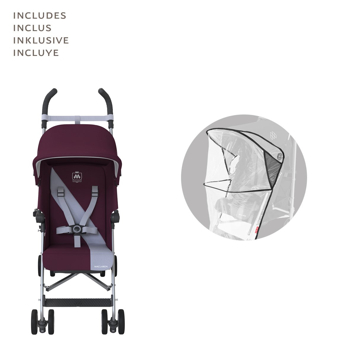 Amazon.com: Maclaren wm1y030062 Triumph, ciruela/Grey Dawn: Baby