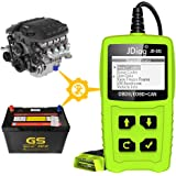 JDiag JD101 OBD2 Code Reader Auto Car Scanner Check Engine Diagnostic Tool Erase Fault Codes Suitable for EOBD Vehicles with Battery Testing Function