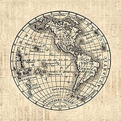 Amazon antique world globe print with america western antique world globe print with america western hemisphere old fashioned map illustration print or poster gumiabroncs Gallery