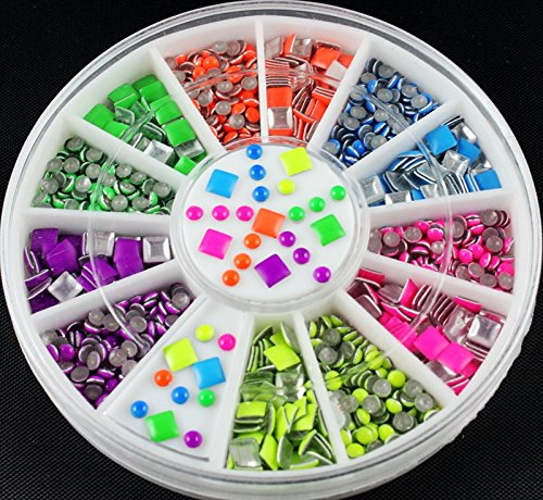 6 Neon Color Plating Square Round Design For Nail Art Tips Charms 3D Nails DIY Glitter Wheel Manicure Decorations - Halloween Party - Christmas Gift for $<!--$8.26-->