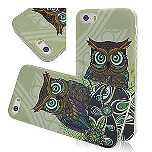 Seedan iPhone 5 5G 5S Soft TPU Case - Green Owl Gel Back Skin Cover Flexible Protective Shell