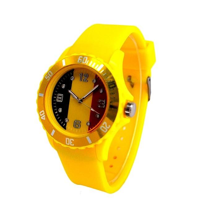 Reloj con la bandera de Bélgica con pulsera de Silicona