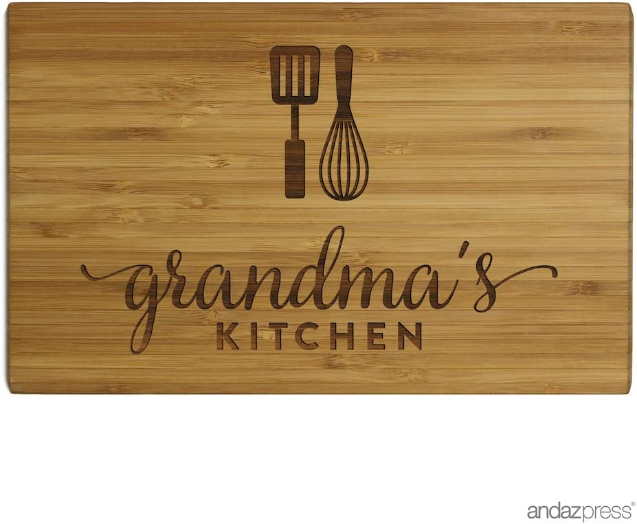 Andaz Press Laser Engraved Small Bamboo Wood Cutting Board, 9.5 x 6-inch, Grandma's Kitchen, 1-Pack, Mother's Day Mom's Birthday Christmas Chopping Gift Ideas