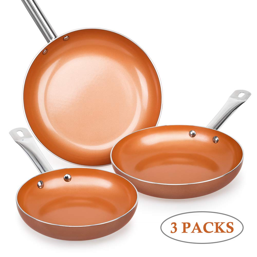 SHINEURI Nonstick Ceramic Copper Pan Set - 8/9.5/11 inch, Frying Pan Set Fry Pan Set with Induction Base & Stainless Steel Handle, Suitable for Cooking Saute Vegetables, Steaks (Round)