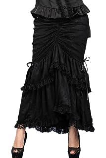 Darkinlove Jupe Noire 3 en 1 Longue Courte Dentelle Froufrous Gothique  Vampire Victorien b6492bd0228