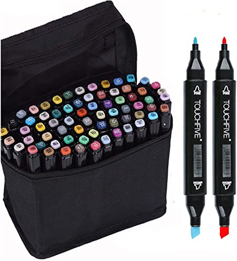 80 Colors Dual Tips Art Sketch Twin Marker Pens Highlighters With Carrying Case For Painting Coloring Highlighting And Underlining Amazon Ca Home Kitchen
