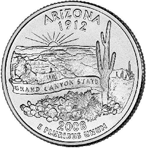 Wine etc. US 2008 Arizona State Quarter BU Uncirculated Coin Leak Proof Black PU Leather Wrapped Stainless Steel 8 Oz Hip Flask Liquor Water