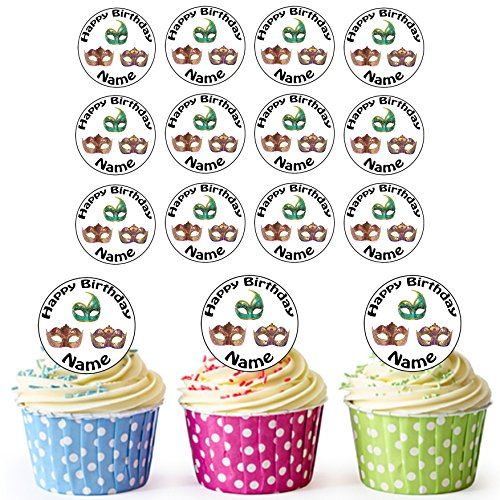 AKGifts Colourful Masquerade Ball Masks 24 Personalised Edible Cupcake Toppers / Birthday Cake Decorations - Easy Precut Circles (7 - 10 BUSINESS DAYS DELIVERY FROM UK) - Easy Masquerade Costume Ideas