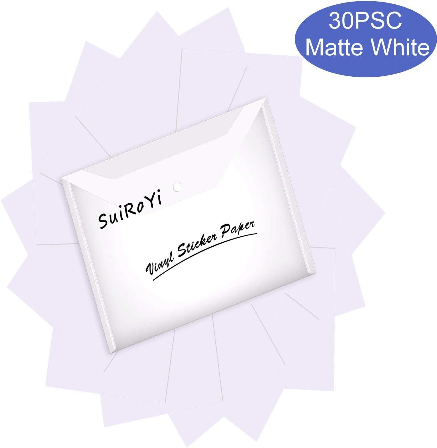 Papel adhesivo de vinilo para impresora de inyección de tinta, 30 hojas, impermeable, color blanco, tamaño de carta estándar de 21,6 x 28 cm: Amazon.es: Oficina y papelería