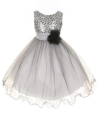 360fd059e7a Amazon.com  Sequin Bodice Tulle Special Occasion Holiday Flower Girl ...
