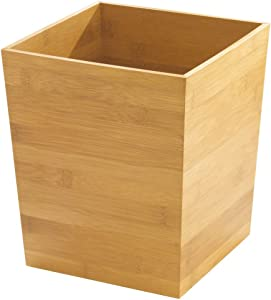 "iDesign Formbu Wood Wastebasket, Small Square Trash Can for Bathroom, Bedroom, Dorm, College, Office, 8.5"" x 8.5"" x 10"", Bamboo"