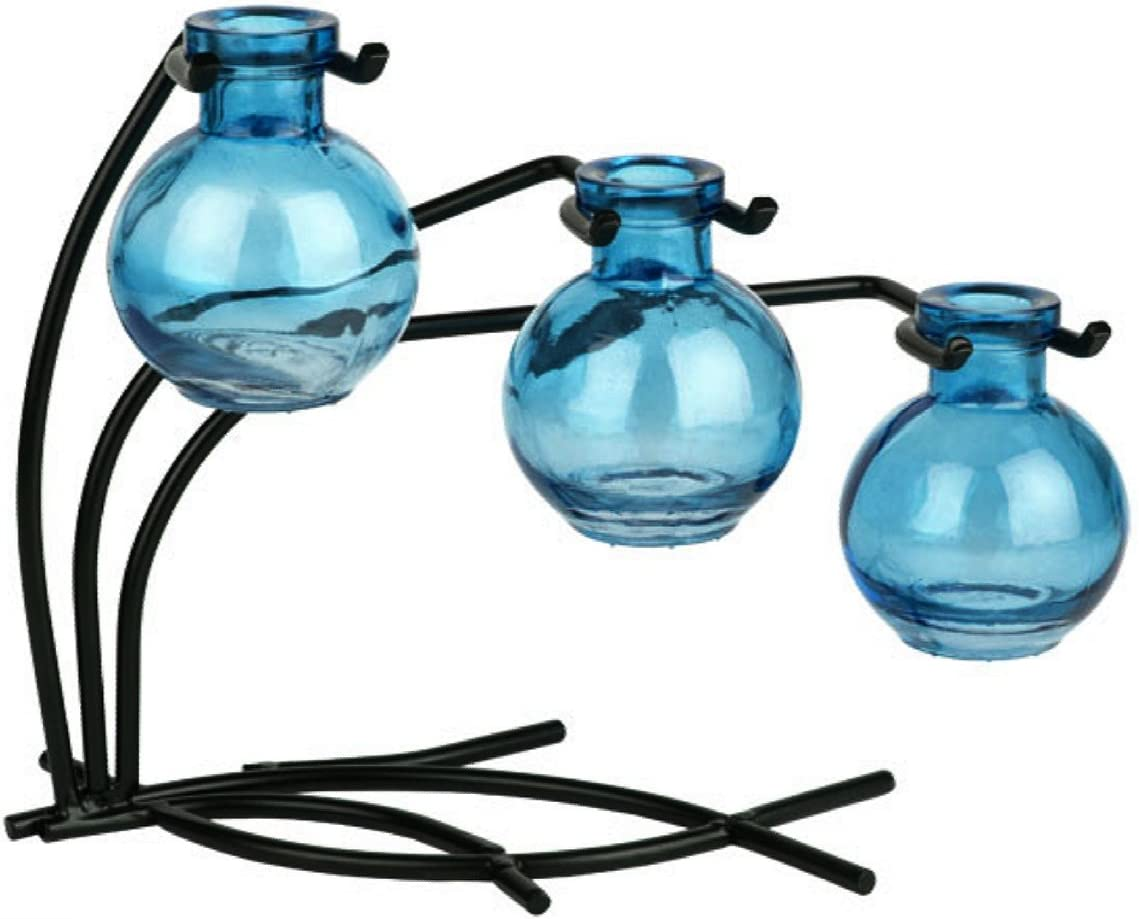 Home Chic Colored Glass Floral, Bud or Rooting 3 Vase Set with Stand – G113F Aqua Vase Use as Flower, Bud, Plant Starter Vase.