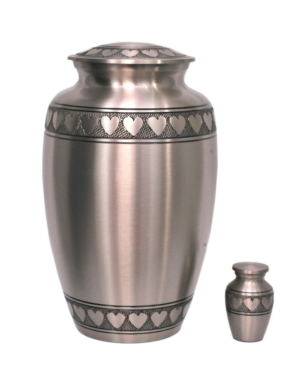 MEMORIALS 4U Classic Pewter with Heart Band Cremation Urn – 100 Handcrafted Large Pewter Heart Urn – Solid Brass Affordable Pewter Urn for Human Ashes – Adult Funeral Urn Deal with Free Keepsake