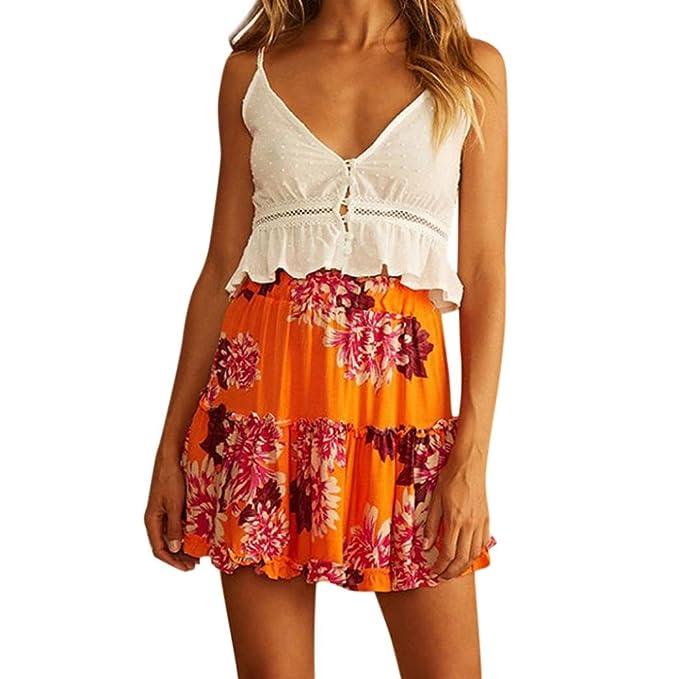 LeeY Frauen Mode Strand Blumen Elastisch Taille Datei Rüsche Kurze Röcke  Damen Sommer Beiläufig Blumen Mini e63ff91092