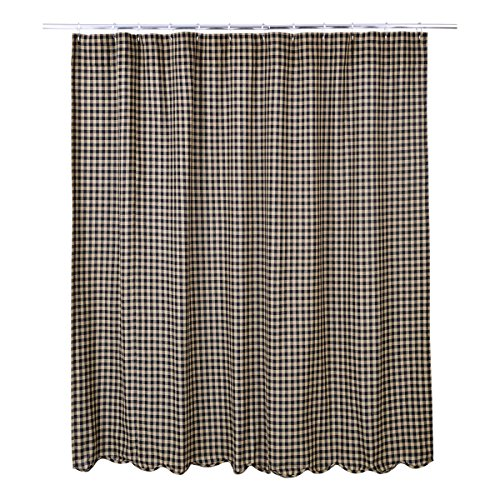 Classic Scalloped - VHC Brands Classic Country Primitive Bath - Check Scalloped Shower Curtain 72 x 72 Black