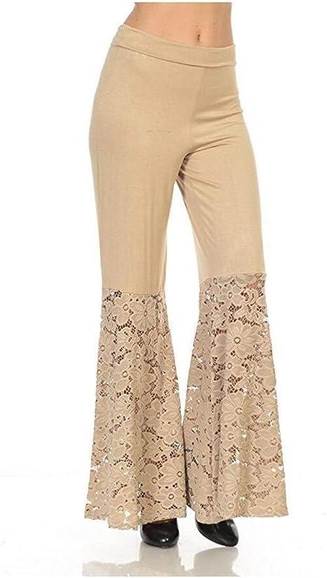 女性の ド蝶コーテ ステッチレースウエストワイドレッグパンツカジュアルパンツ いシェイプ