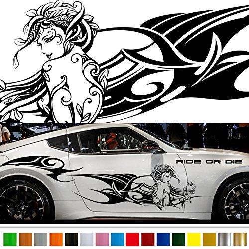 女神カーステッカーwa53■バイナルグラフィック車ワイルドスピード系デカール(ブラック)★色変更可★ B01KLTYGO0