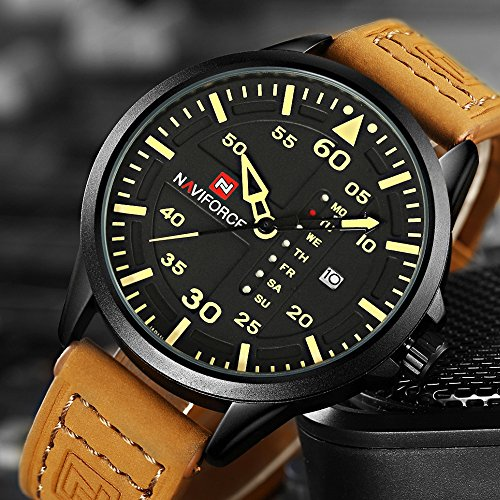 Renwangda Men's Quartz Watches Auto Date Clock Leather Strap Army Military Sports Wrist Watch