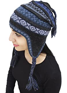 bba6273ad86 Superfine 100% Alpaca Wool Handmade Intarsia Chullo Ski Hat Beanie Aviator  Winter